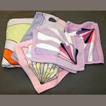 Emilio Pucci A large group of Pucci towels of varying sizes and patterns/colour ways, together with two 1950's ladies swimming costumes. (qty)
