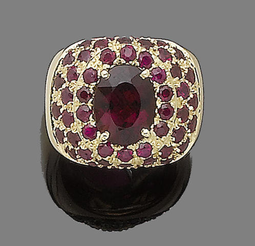 A tourmaline and ruby dress ring