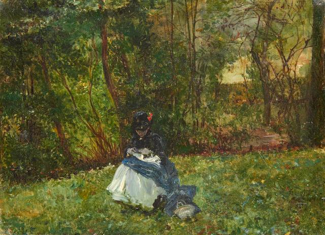 Scipione Vannutelli (Italian, 1834-1894) Sewing in the park