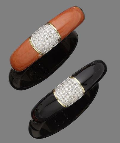 An onyx and diamond bangle, and a coral and diamond bangle (2)