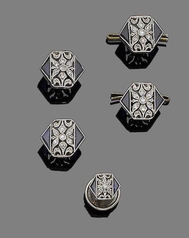 A sapphire and diamond dress set, (5)