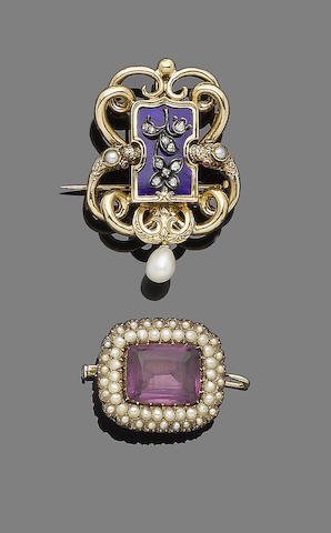 A seed pearl and amethyst pendant/brooch and an enamel, pearl and diamond pendant/brooch (2)