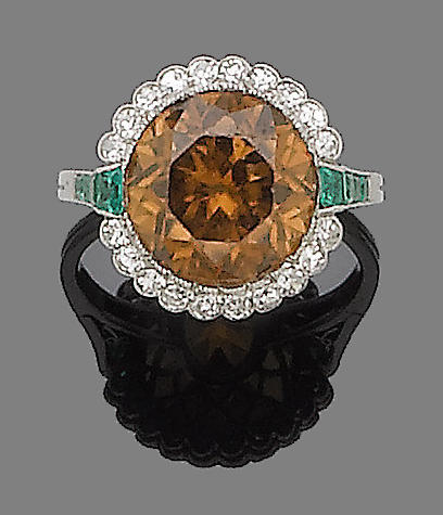 A zircon, emerald and diamond ring