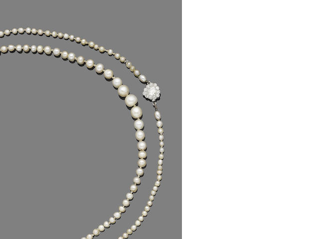 A natural pearl and diamond single-row necklace,