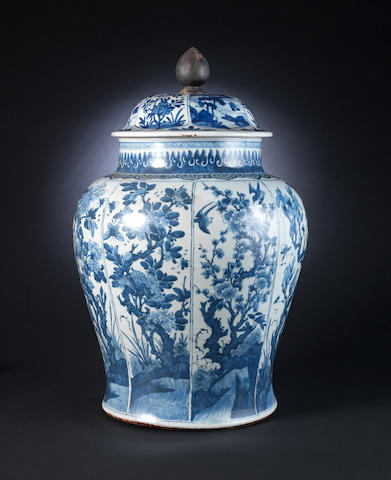 A large blue and white baluster vase 17th or 18th century