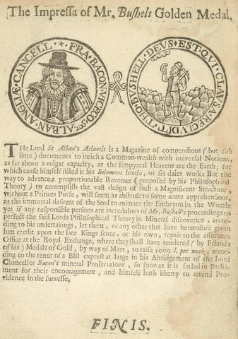 MINING BUSHELL (THOMAS) An Extract by Mr. Bushell of His Late Abridgment of the Lord Chancellor Bacons Philosophical Theory in Mineral Prosecutions, 1660