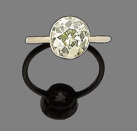 A fancy coloured diamond single-stone ring