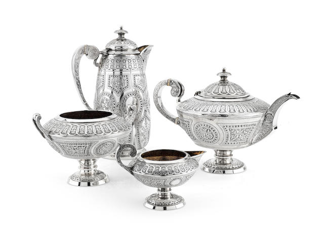 A Victorian matched four piece silver tea service by William Mortimer, Edinburgh 1874/77  (4)