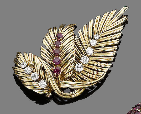 A ruby and diamond brooch, by Van Cleef & Arpels
