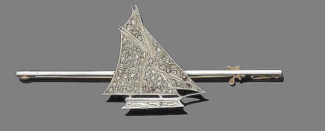 A diamond bar yacht brooch,