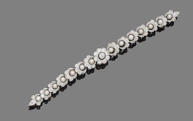 A pearl and diamond bar brooch