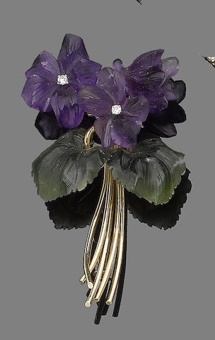 An amethyst and nephrite flower brooch