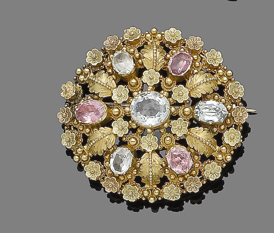 A gem-set brooch