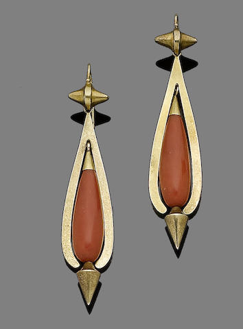 A late 19th century pair of gold and coral pendent earrings