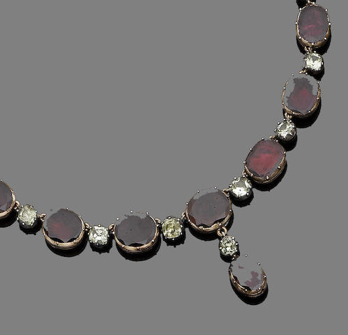 A 19th century garnet and chrysoberyl necklace