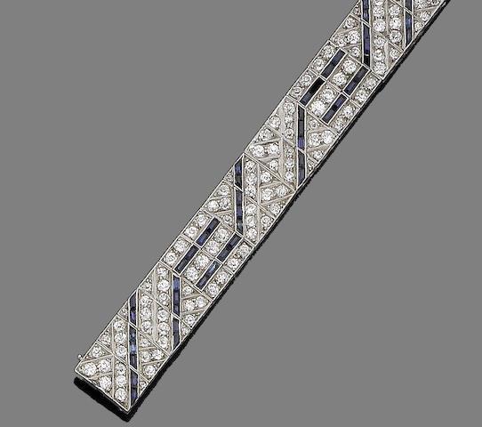 An art deco sapphire and diamond bracelet,