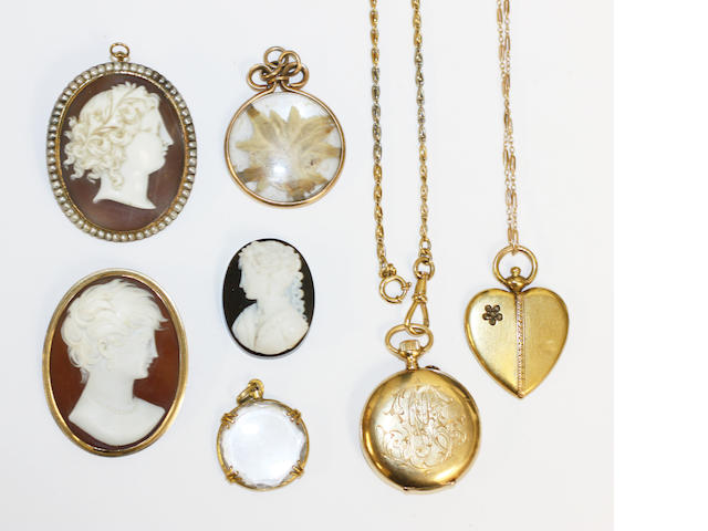 A collection of jewellery,comprising an unmounted hardstone cameo, an Edwardian shell cameo of a lady in profile, within a seed pearl border, a modern shell cameo brooch, a French heart-shaped locket pendant, with a rose-cut diamond flower detail, on fine fancy link chain, a small gold cased fob watch, on two colour knot-link chain, and two further glazed locket pendants.