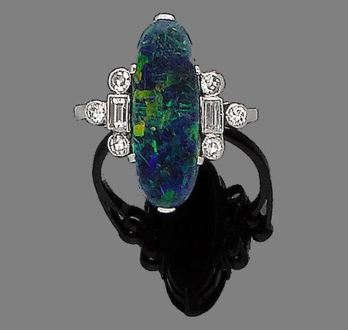 An art deco opal and diamond ring,