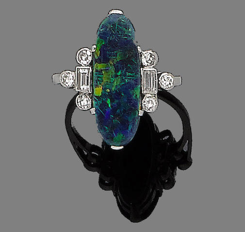 An art deco opal and diamond ring,