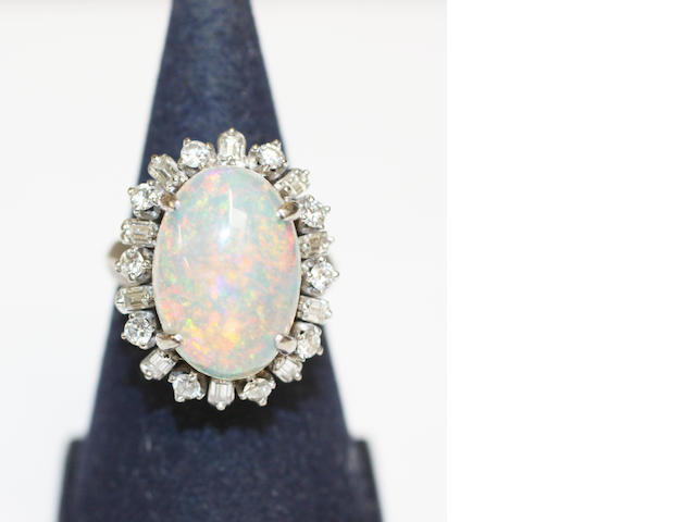 An opal and diamond cluster ring