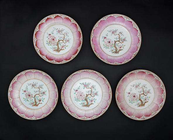 A set of five famille rose saucer dishes Qing Dynasty