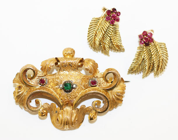 A vari-gem set brooch and a pair of ruby earstuds, (2)