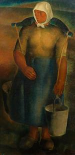 Antoine (Anto) Carte (Belgian, 1886-1954) Le village (triptych) central panel 100.5 x 105cm (39 9/16 x 41 5/16in); <BR /> side panels 100.5 x 50.2cm (39 9/16 x 19 3/4in) each.