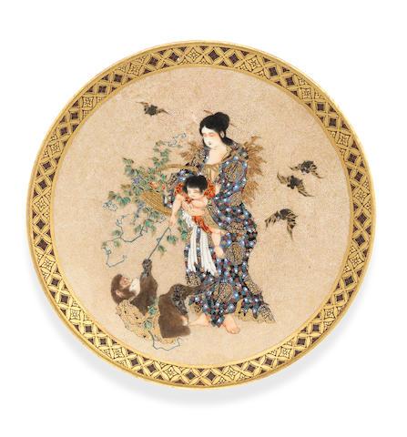 A small Satsuma plate By Meizan, Meiji Period