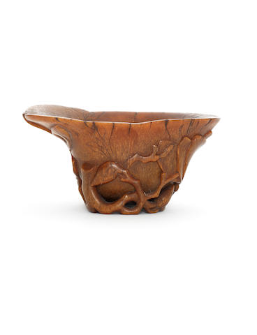 A rhinoceros horn libation cup 18th century