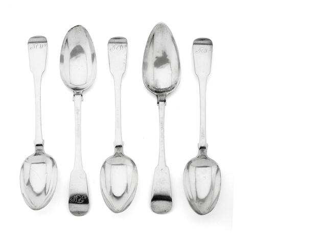 Five silver tablespoons by John Sellar of Wick, four with two marks; JS, Wick and one with four marks; JS, Wick, JS, JS  (5)