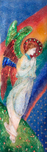 A Phoebe Anna Traquair enamelled Triptych the main panel with artist's monogram and dated 1918, the right panel also with artist's monogram, the silver mount marked Edinburgh 1918