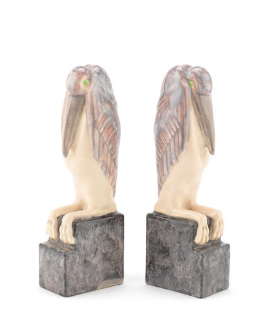 Marcel Bouraine A Pair of Terracotta Pelican Bookends, circa 1930