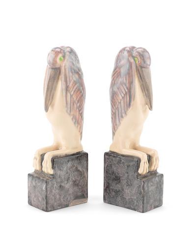 M. Bouraine: pair of pelican book ends