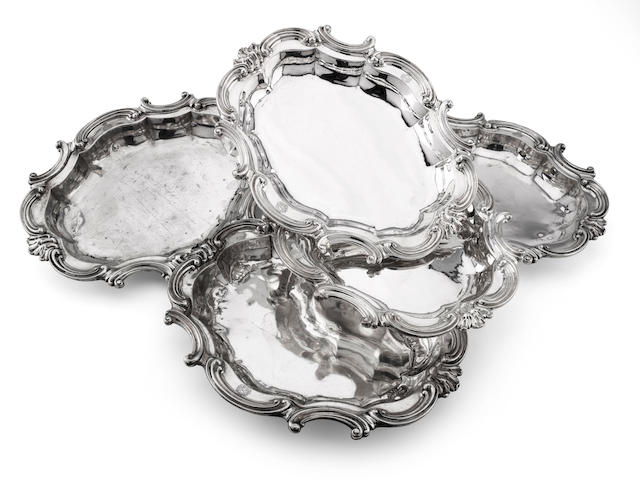 A set of five early Victorian silver serving dishes by Benjamin Smith, marks very rubbed, circa 1837  (damages.)