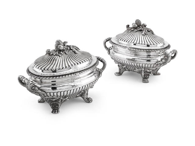 A pair of Victorian twin handled covered dishes by Fox & Fox, London 1851