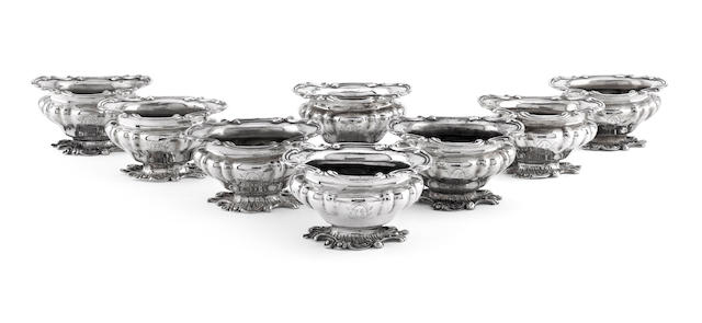 A set of eight early William IV silver salts by Benjamin Smith, London circa 1835