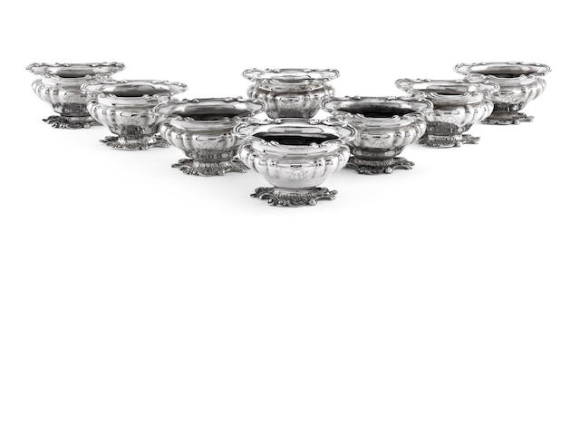 A set of eight early Victorian silver salts by Benjamin Smith, London circa 1835