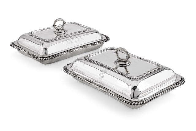 A pair of silver entree dishes by Goldsmiths and Silversmiths Co Ltd., London 1904  (2)