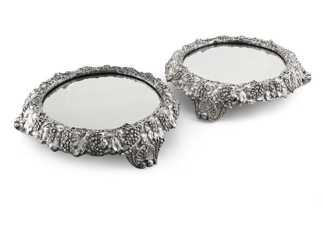 A pair of Victorian mirror plateaux by Elkington & Co