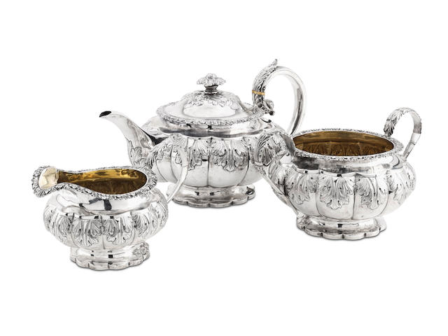 A George IV silver three piece tea service by Mitchell & Son, Glasgow 1822  (3)