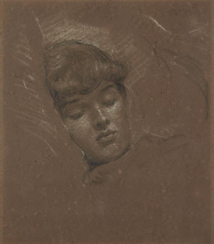 Edward Robert Hughes (British, 1851-1914) Head of a sleeping girl