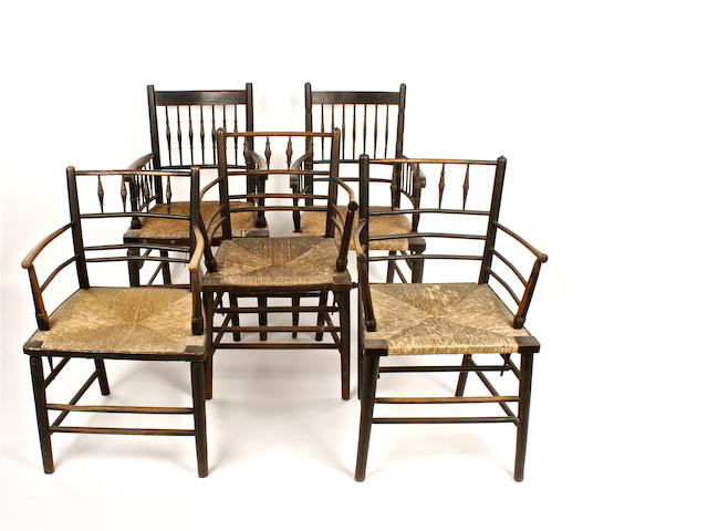 Set 5 Sussex type ebonised elbow chairs + 6