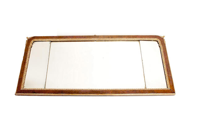 An 18th century rectangular, walnut & parcel gilt overamantel mirror