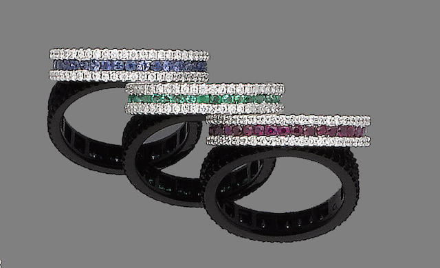 Three ruby, emerald, sapphire and diamond eternity rings (3)