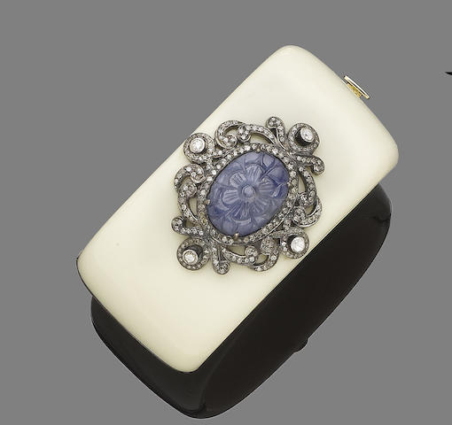 A bakelite, sapphire and diamond bangle