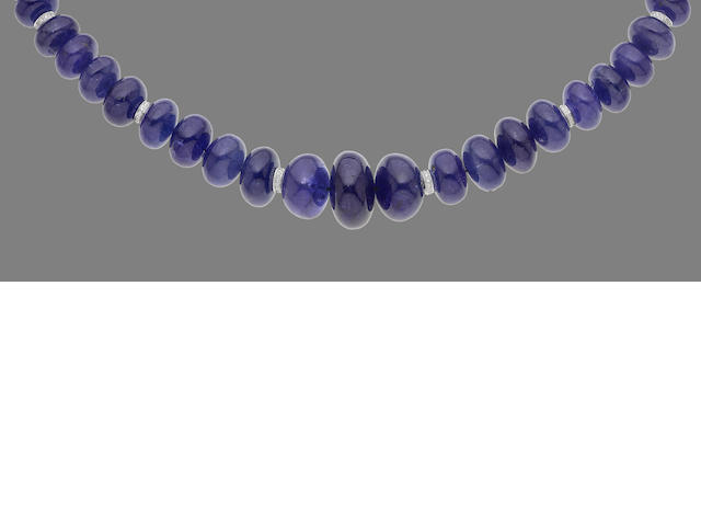 A tanzanite and diamond necklace