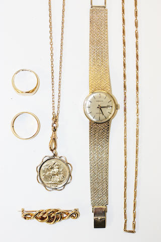A small collection of assorted gold jewellery, comprising a 9ct gold lady wristwatch, by Longines, a Victoria sovereign, 1900, in pendant mount, on long belcher-link chain, a 22ct gold wedding band, an 18ct gold signet ring, a Victorian gold knot brooch and a fine fancy fetter-link chain