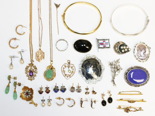 A collection of assorted jewellery, including a white gold mounted diamond floral spray brooch, a yellow gold ruby and diamond floral spray brooch, two Edwardian gem and seed pearl pendants on chains, a plain hinged bangle stamped '750', together with assorted brooches, chains and pairs of earrings.