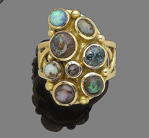 An opal and boulder opal dress ring