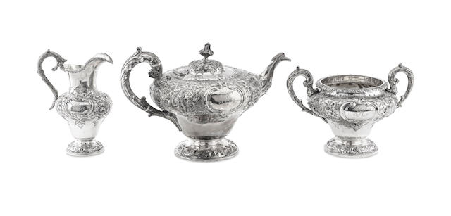 A Victorian three piece silver tea service by John Mckay, Edinburgh 1857/8  (3)